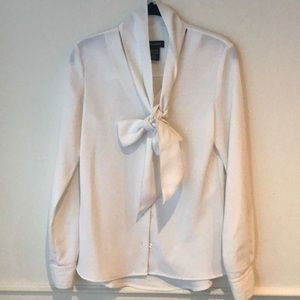 lord & Taylor crisp white blouse with neck tie
